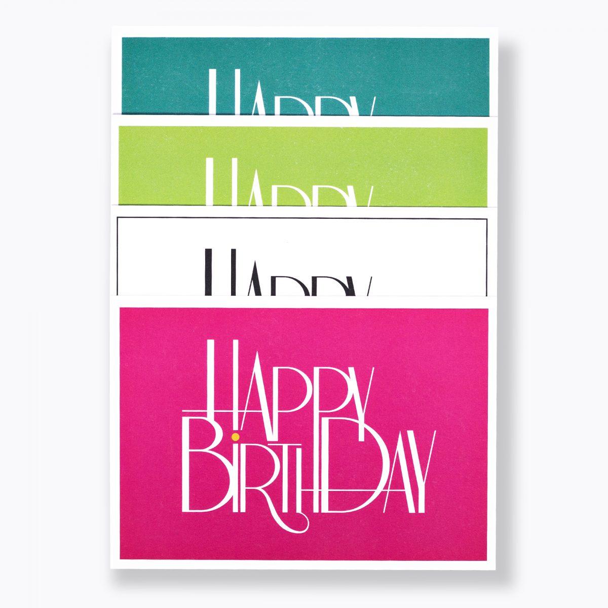 """8er-set deluxe GEBURTSTAGSKARTE """"Happy Birthday"""" DIN A6 MINT, GRÜN, WEISS, PINK"""
