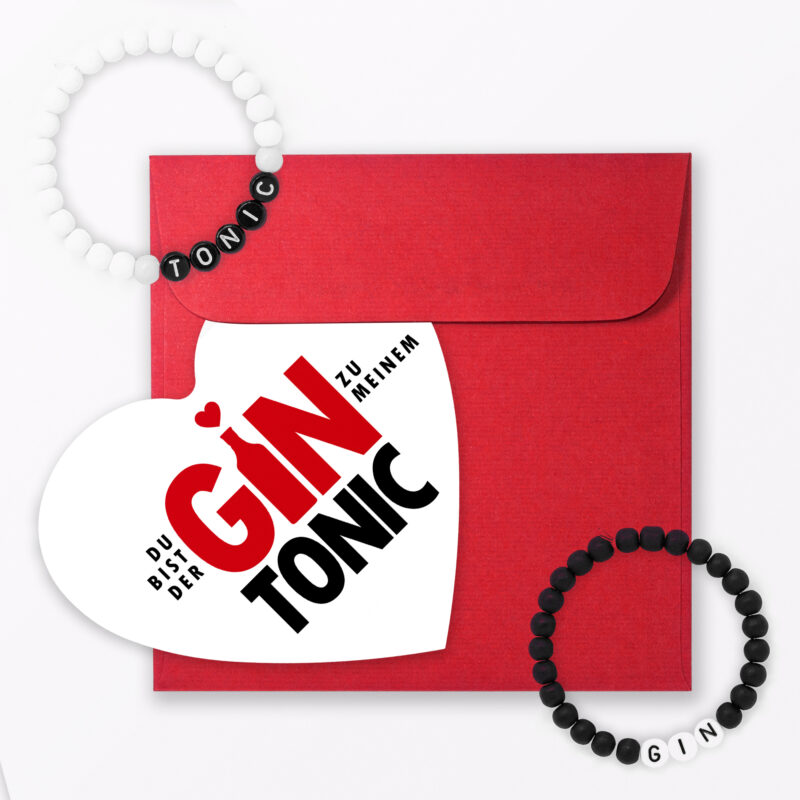 Set Quot Gin Tonic Quot Postkarte In Herzform Inkl Umschlag Armb Nder