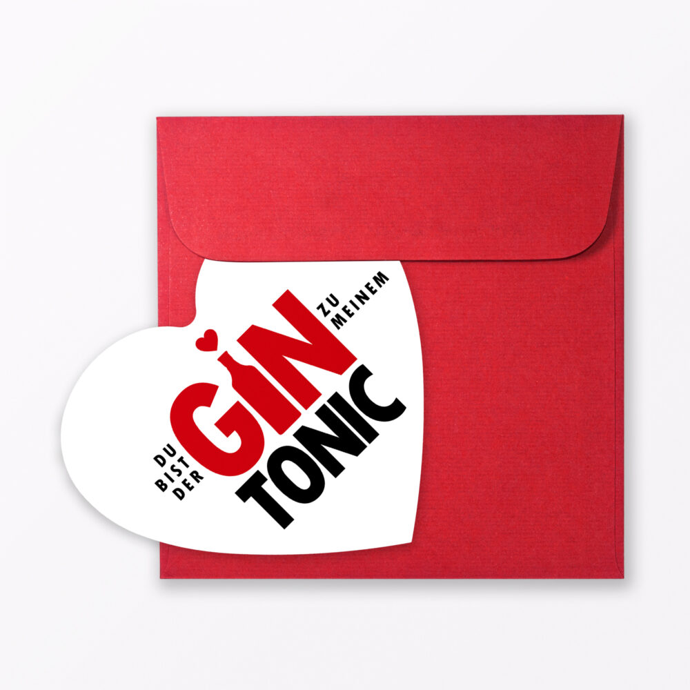 Postkarte Quot Gin Tonic Quot In Herzform Inkl Umschlag