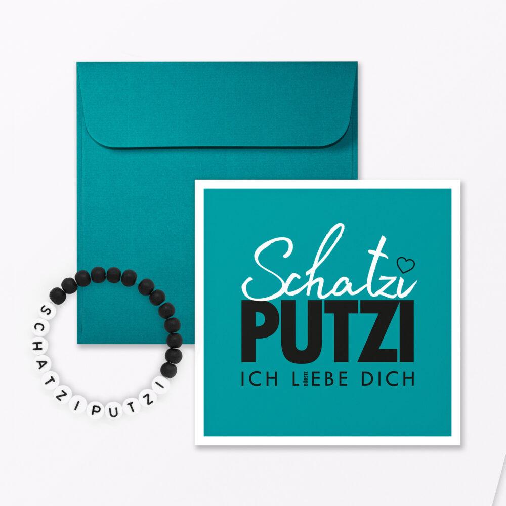 Postkarte Quot Schatziputzi Quot T Rkis Quadratisch Inkl Umschlag Armband
