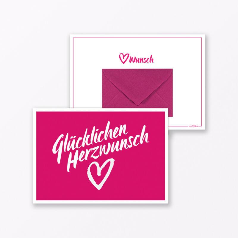 Gl Ckwunschkarte Quot Gl Cklichen Herzwunsch Quot Pink Inkl Umschlag Amp Miniumschlag