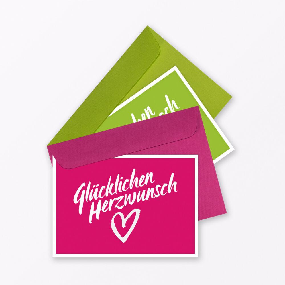 Teiliges Set Gl Ckwunschkarte Quot Gl Cklichen Herzwunsch Quot Gr N Pink Inkl Umschlag
