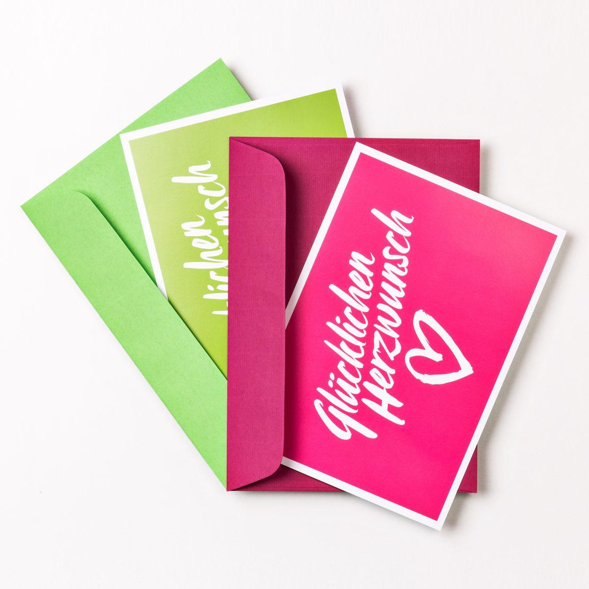 GLÜCKWUNSCHKARTE Glücklichen Herzwunsch GRÜN + PINK inkl. Umschlag Set