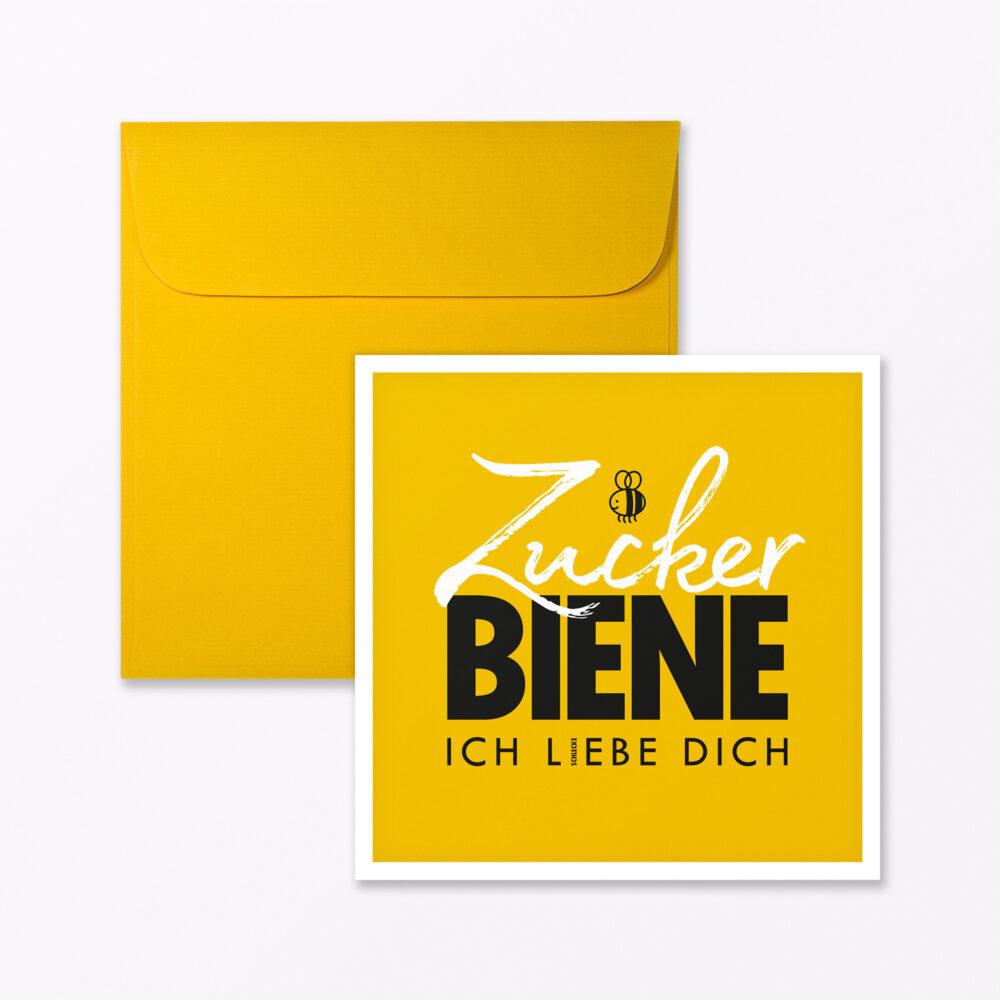 Postkarte Quot Zuckerbiene Quot Gelb Quadratisch Inkl Umschlag