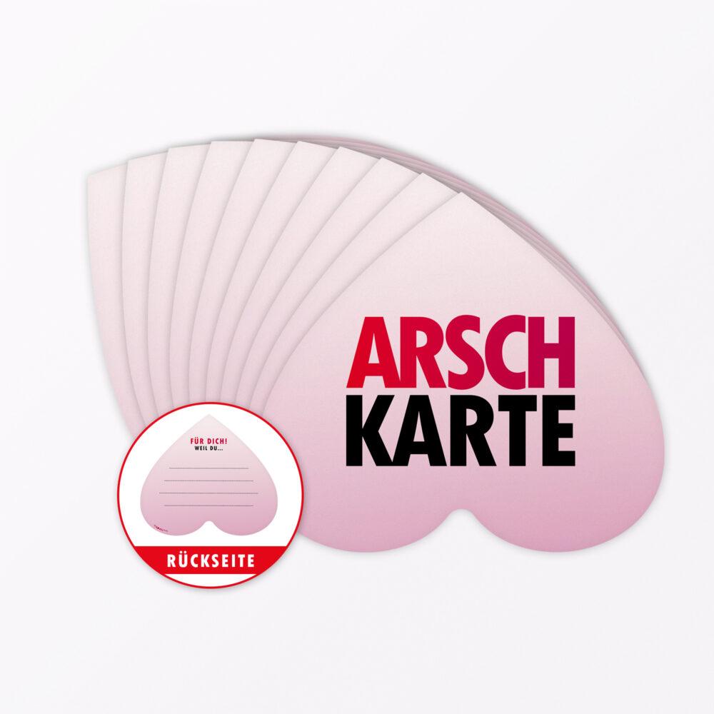 Teiliges Set Postkarte Quot Arschkarte Frei Quot In Herzform
