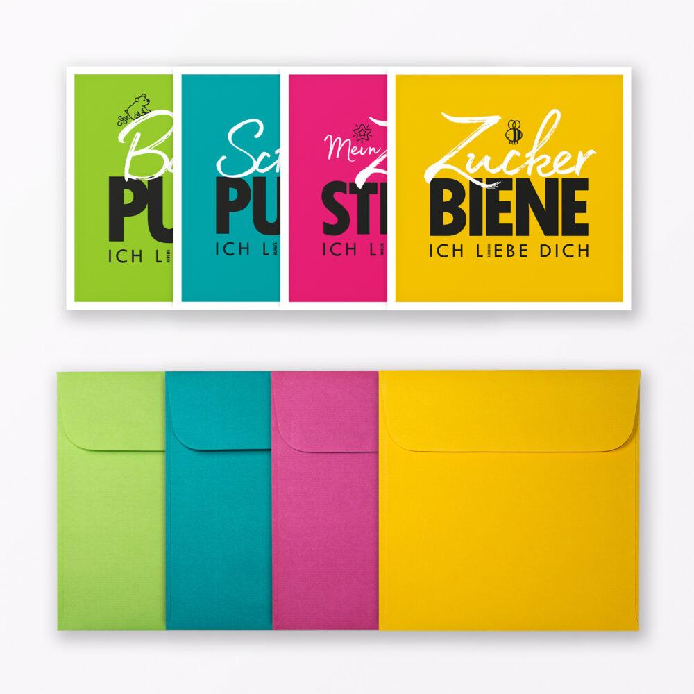 Teiliges Set Postkarte Quot Kosenamen Quot Quadratisch Inkl X Umschlag Farbig
