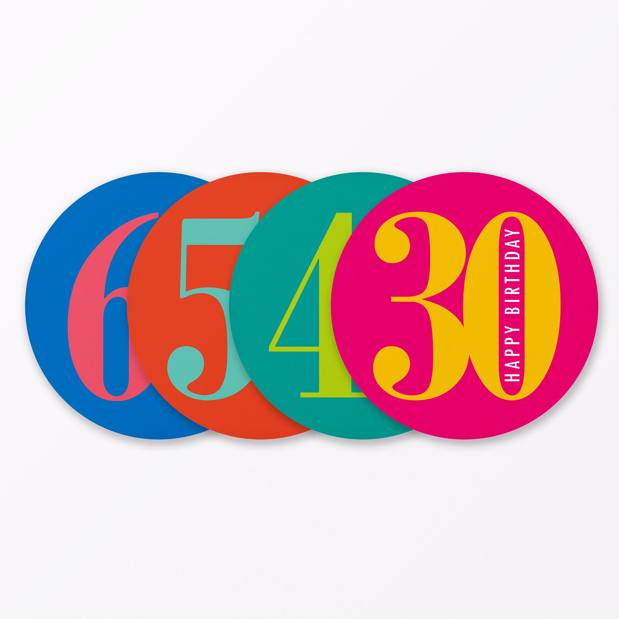 4 Teiliges Set Geburtstagskarte Runder Geburtstag 30 40 50 60