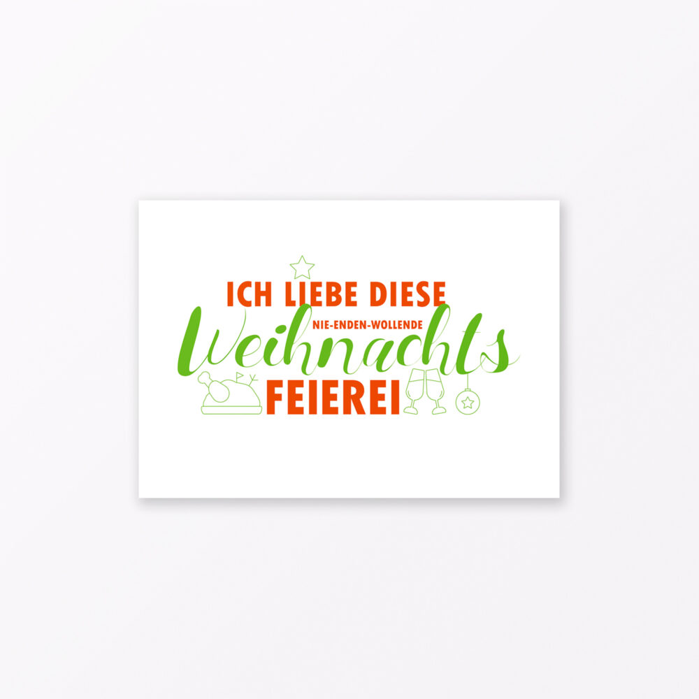 Postkarte Quot Weihnachtsfeierei Quot Din A
