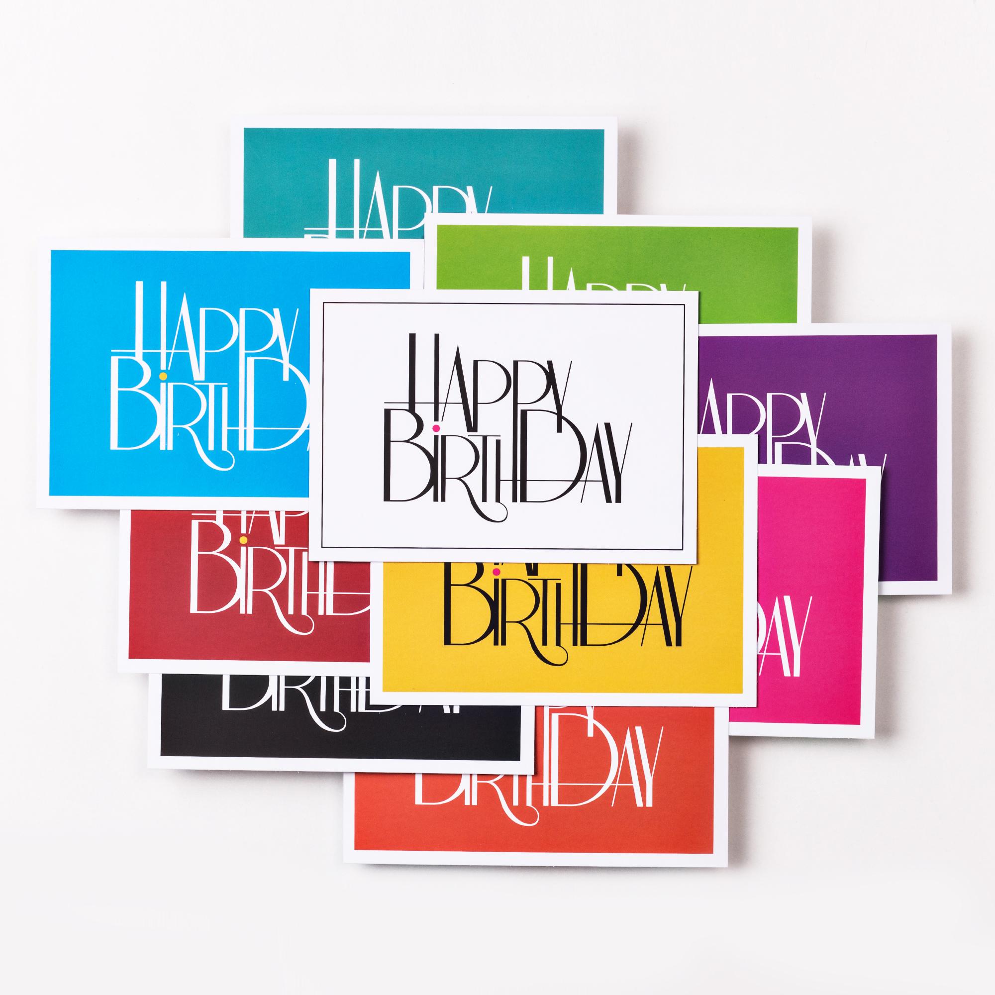 10er-Set Design GEBURTSTAGSKARTE Happy Birthday DIN A6