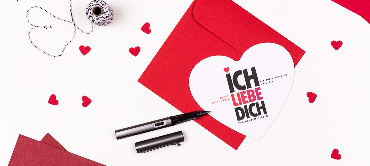 Banner Herzkarte Ich liebe Dich inkl. Umschlag & Dekoration