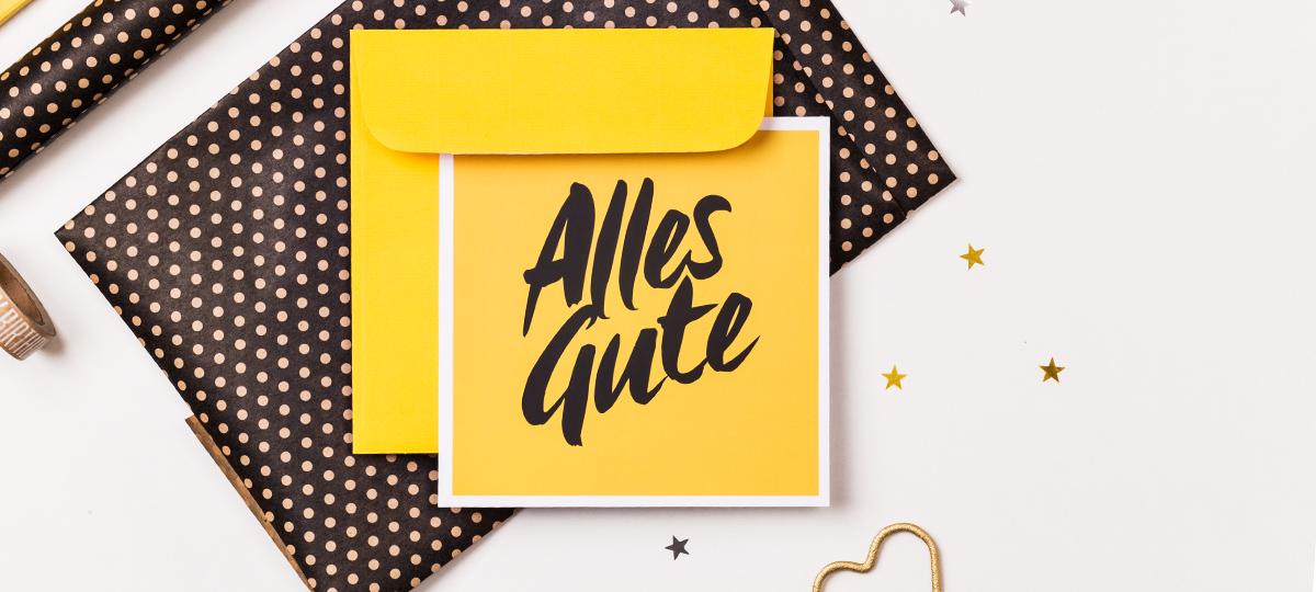 Banner Glückwunschkarte Alles Gute + Dekoration