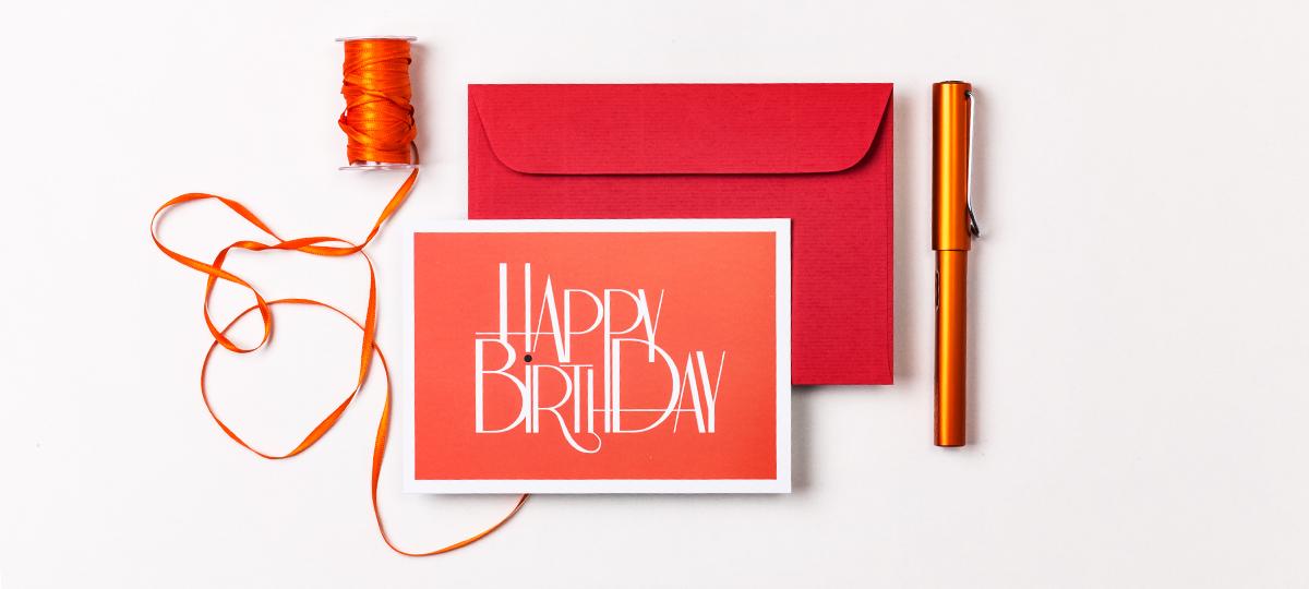 Banner Geburtstagskarte Happy Birthday Peach + Dekoration