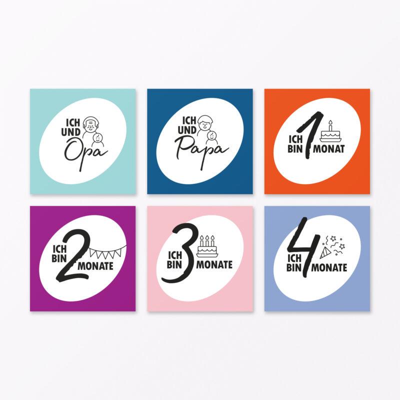 Teiliges Set Meilensteinkarten Quot Babys Erstes Jahr Quot Quadratisch