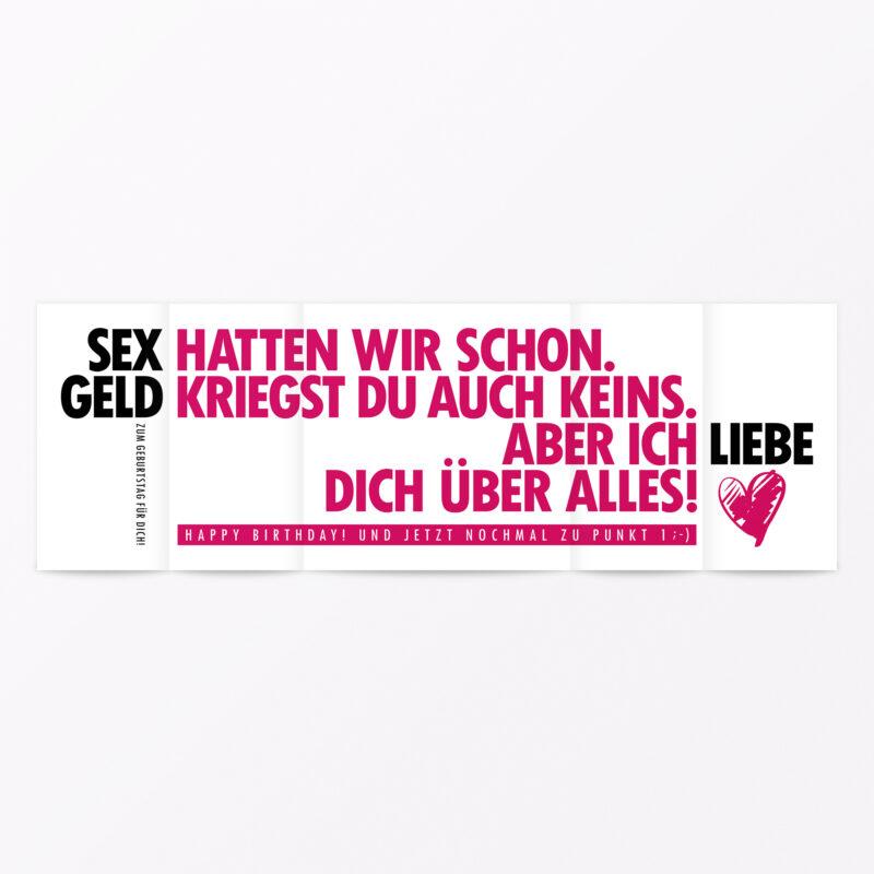 Geburtstagskarte Quot Sex Geld Liebe Quot Faltkarte Inkl Umschlag