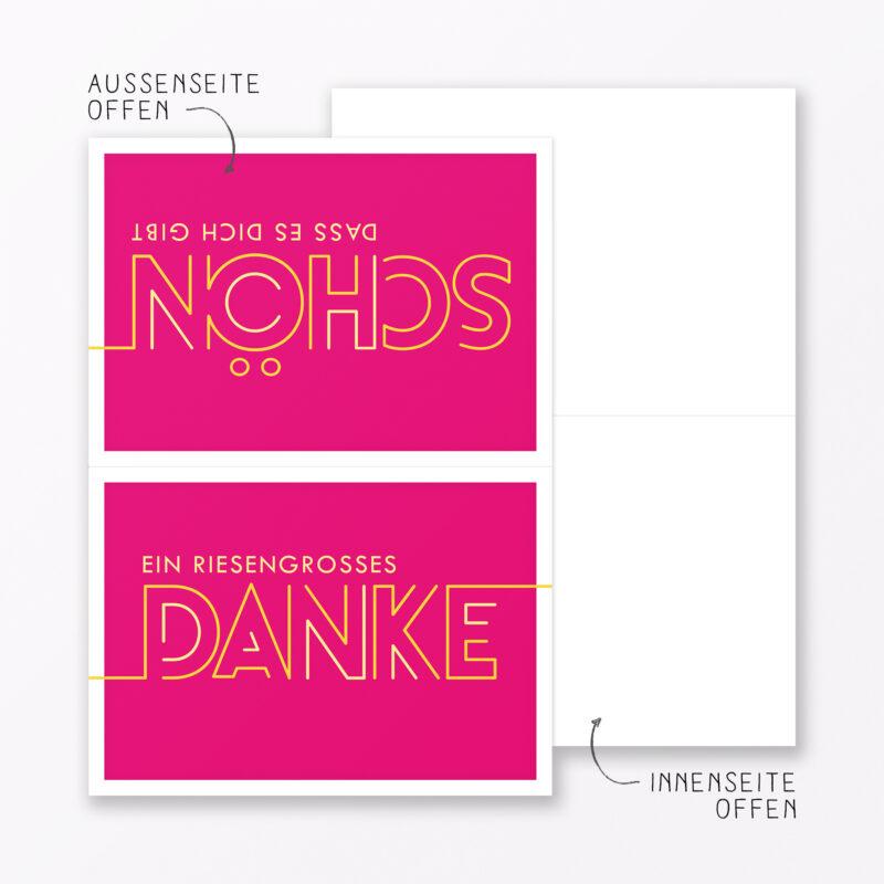 Dankeskarte Quot Dankesch N Quot Pink Klappkarte A Inkl Umschlag