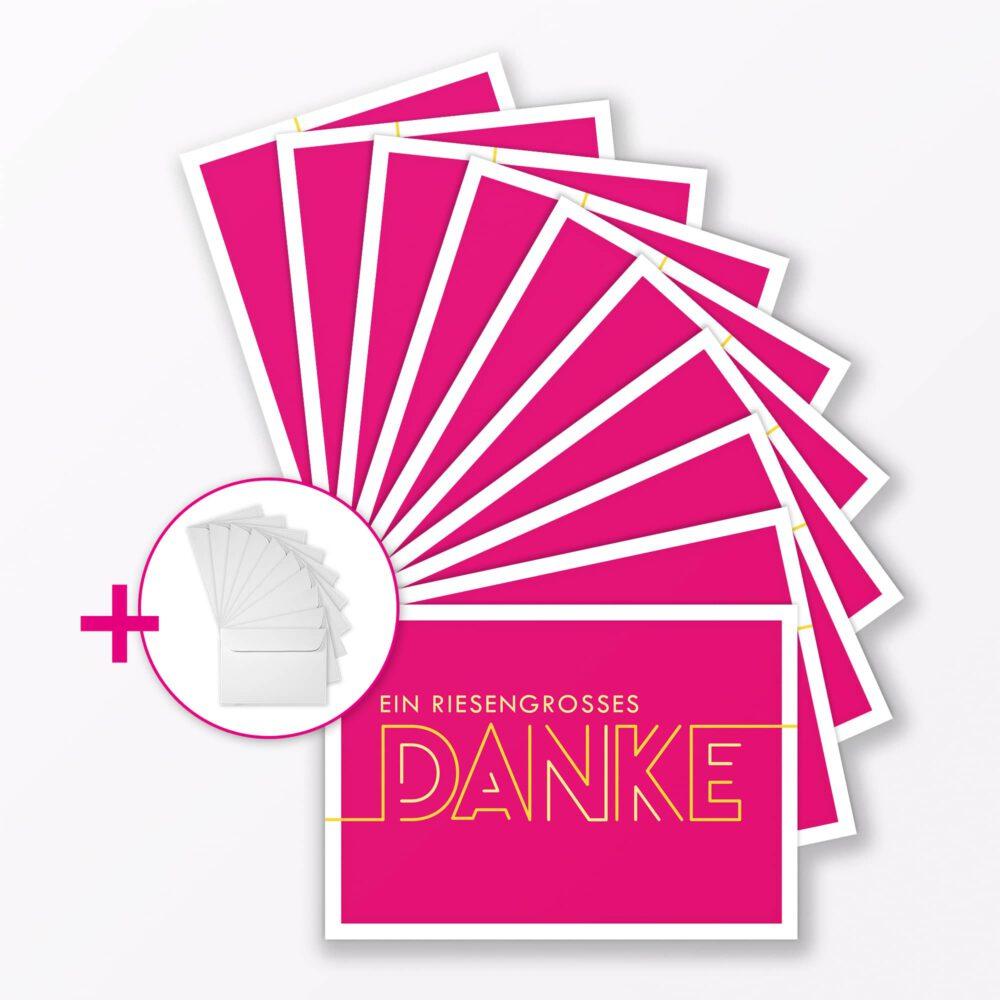 Teiliges Set Dankeskarte Quot Dankesch N Quot Pink Klappkarte A Inkl Umschl Ge Weiss