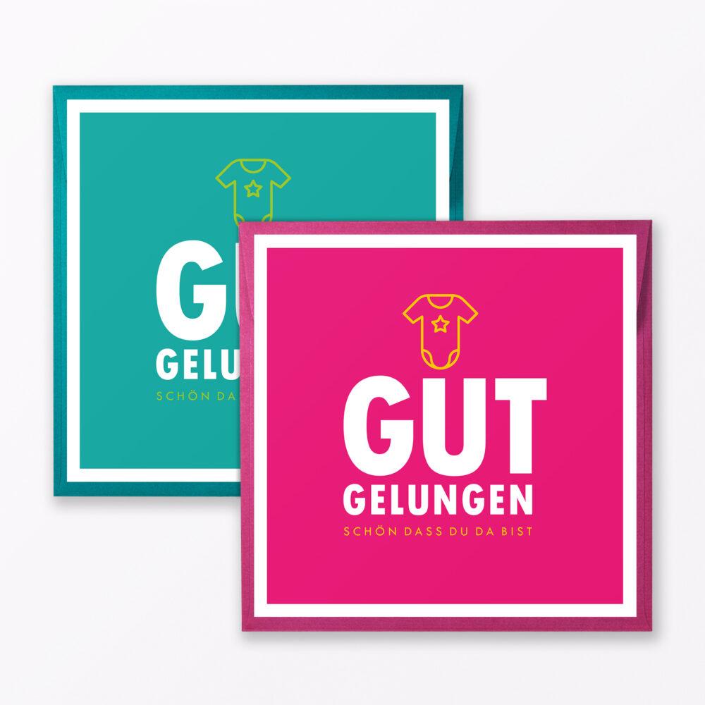 Teiliges Set Babykarte Quot Gut Gelungen Quot T Rkis Pink Quadratisch Inkl Umschl Ge