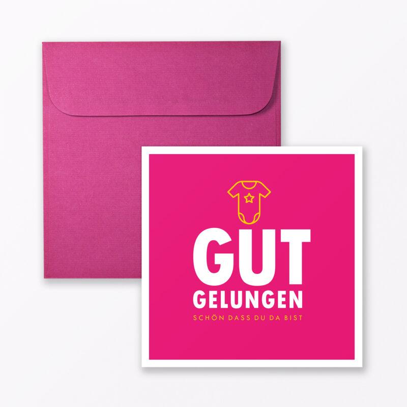 Babykarte Quot Gut Gelungen Quot In Pink Quadratisch Inkl Umschlag