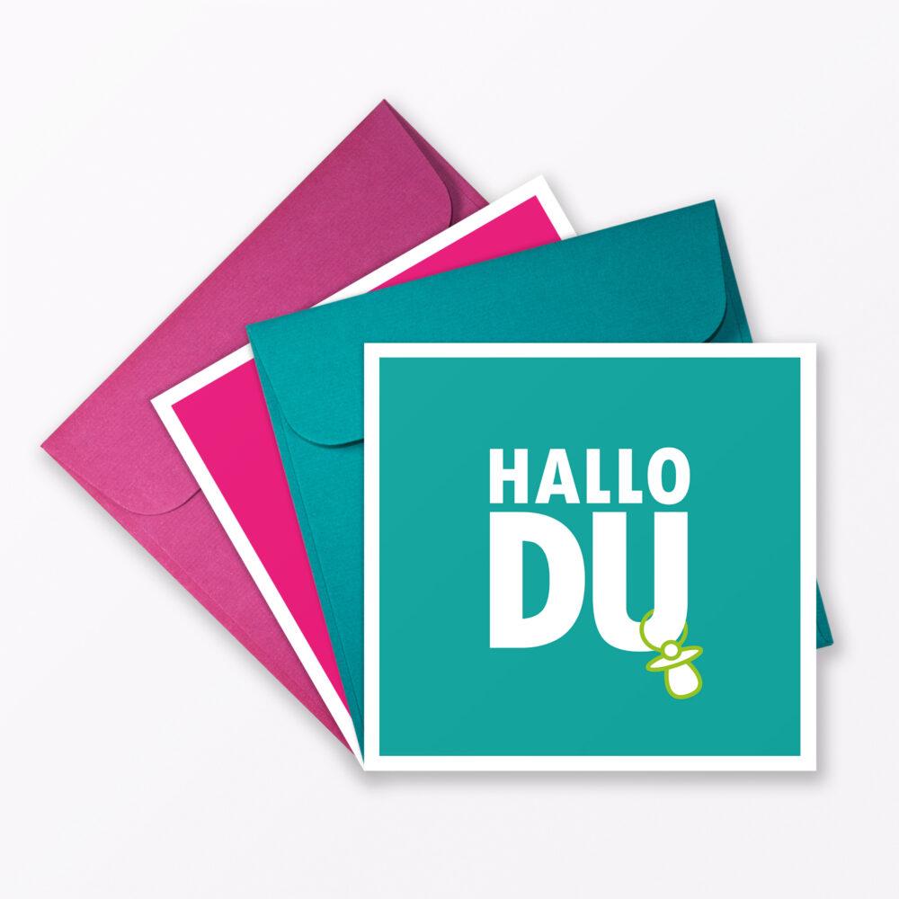 Teiliges Set Babykarte Quot Hallo Du Quot T Rkis Pink Quadratisch Inkl Umschl Ge