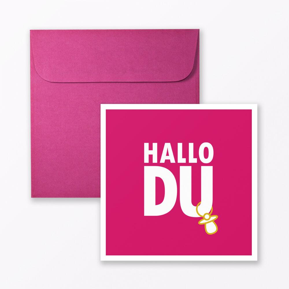Babykarte Quot Hallo Du Quot In Pink Quadratisch Inkl Umschlag