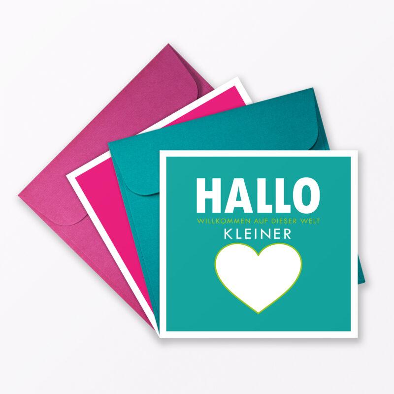 Teiliges Set Babykarte Quot Willkommen Auf Dieser Welt Quot T Rkis Pink Quadratisch Inkl Umschl Ge
