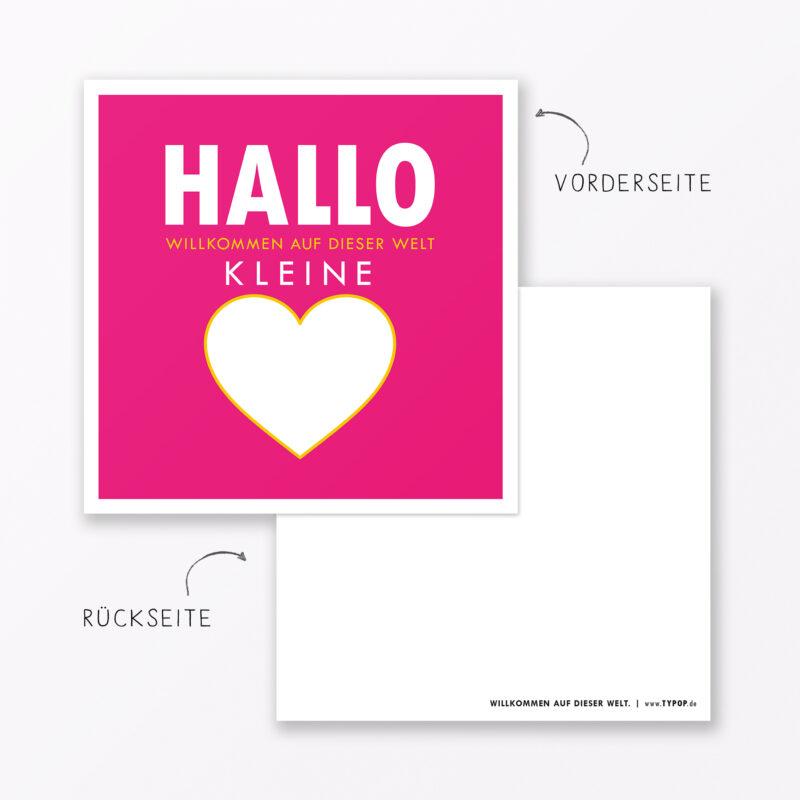 Babykarte Quot Willkommen Auf Dieser Welt Quot In Pink Quadratisch Inkl Umschlag