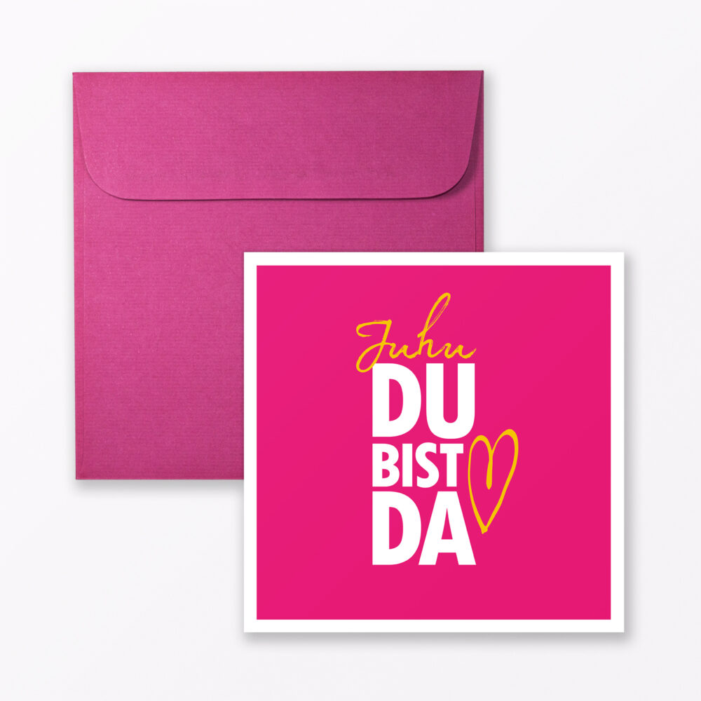 Babykarte Quot Juhu Du Bist Da Quot In Pink Quadratisch Inkl Umschlag
