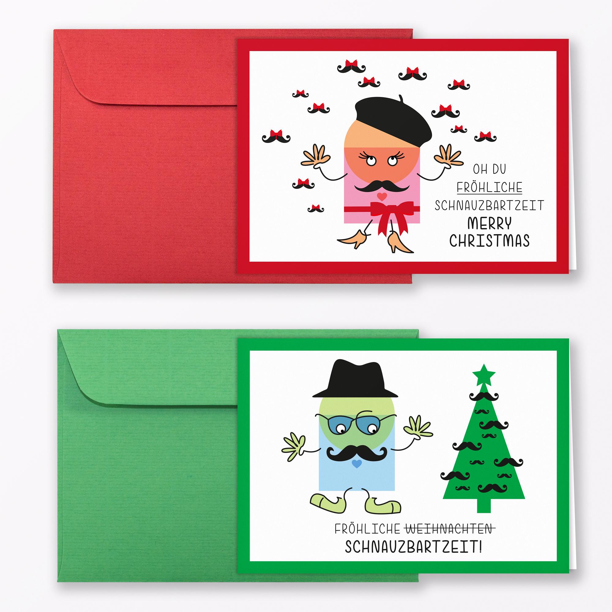 weihnachtskarten schnauzbartzeit inkl umschl ge. Black Bedroom Furniture Sets. Home Design Ideas