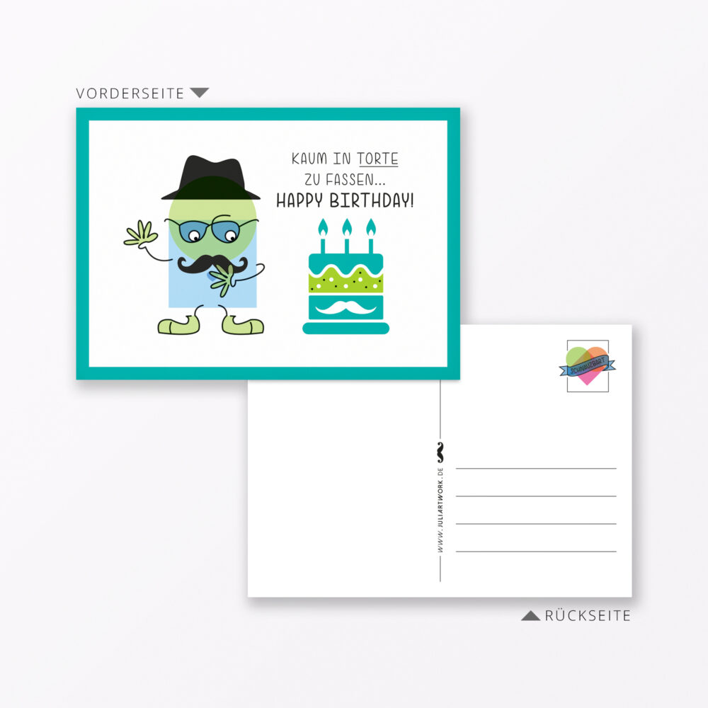 Postkarte Quot Schnauzbart Birthday Quot Din A Inkl Sticker