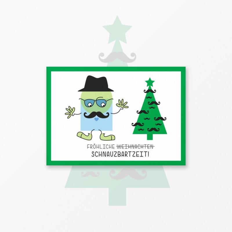 Weihnachtskarte Quot Schnauzbartzeit Weihnachten Quot Din A Inkl Sticker