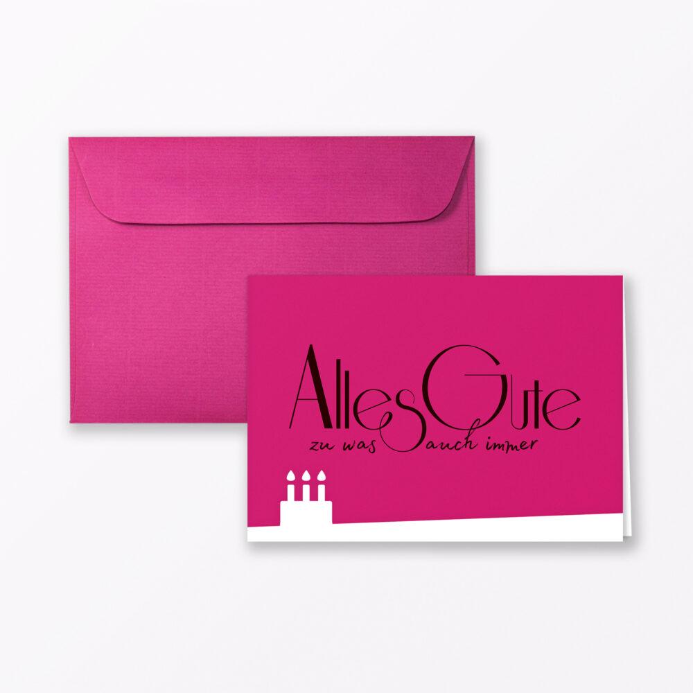 Geburtstagskarte Quot Alles Gute Zu Was Auch Immer Quot Pink Klappkarte Din A Inkl Umschlag