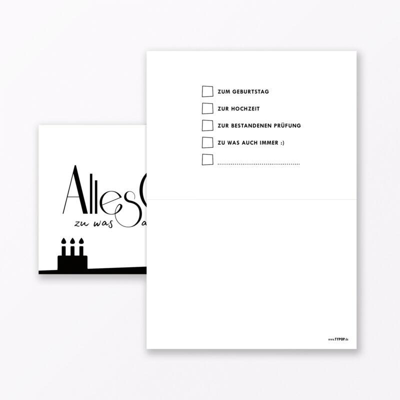 Teiliges Set Geburtstagskarte Quot Alles Gute Zu Was Auch Immer Quot Weiss Klappkarten Din A Inkl Umschl Ge Weiss