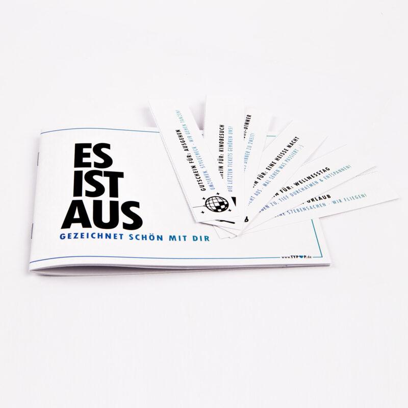 """GUTSCHEINHEFT """"Es ist aus"""" für den MANN inkl. 6 Gutscheinen"""
