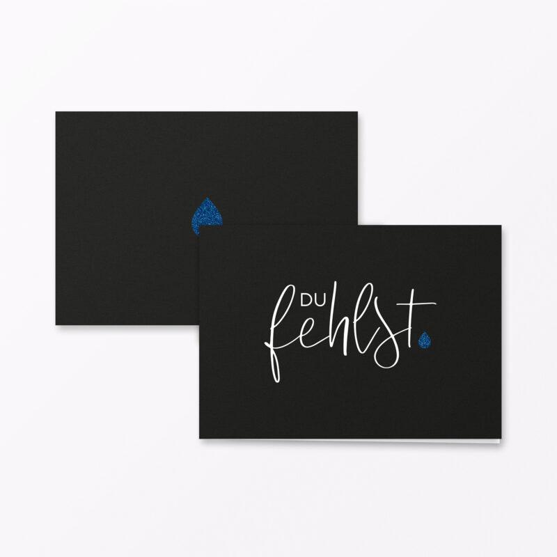 Trauerkarte Du Fehlst Blau