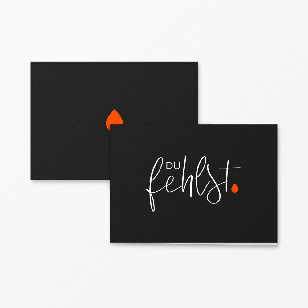 Trauerkarte Du Fehlst Orange