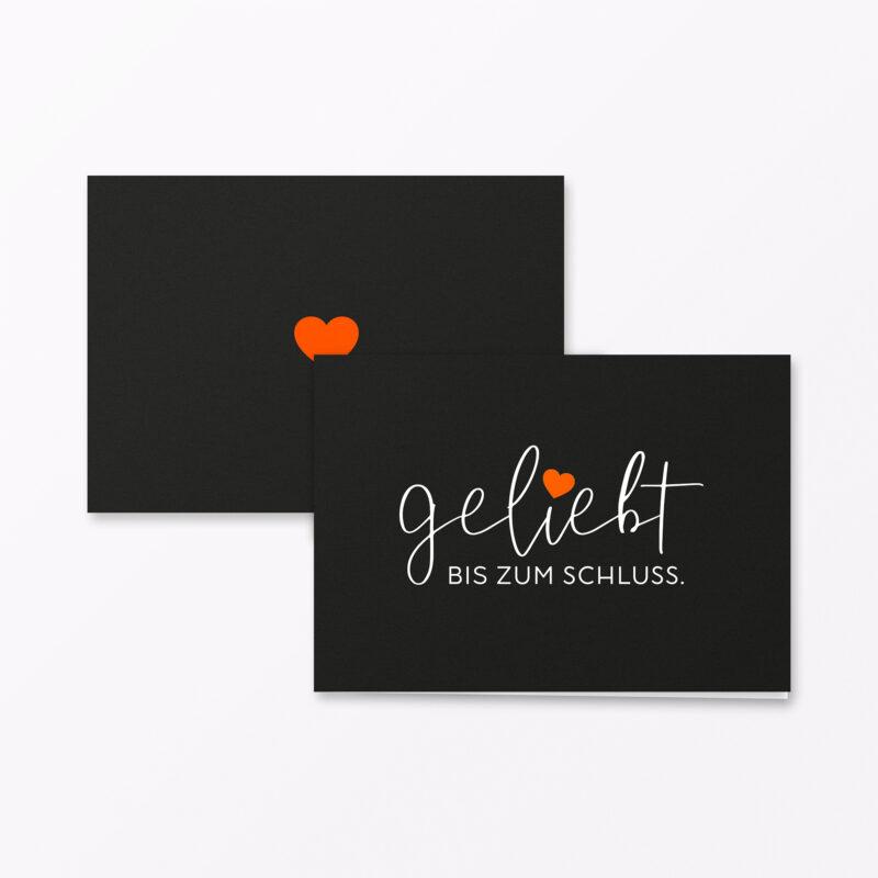 Trauerkarte Geliebt Orange