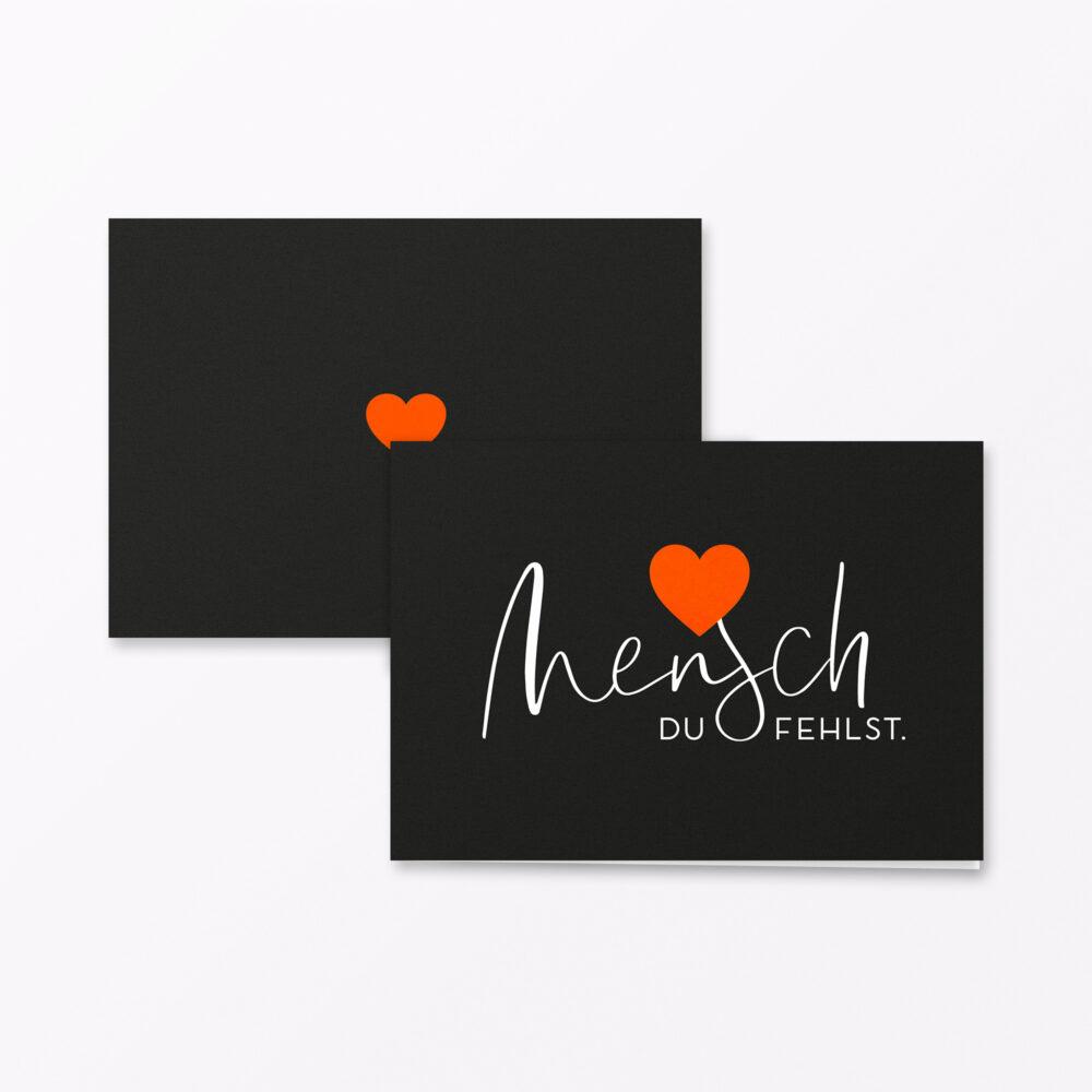 Trauerkarte Herzensmensch Orange