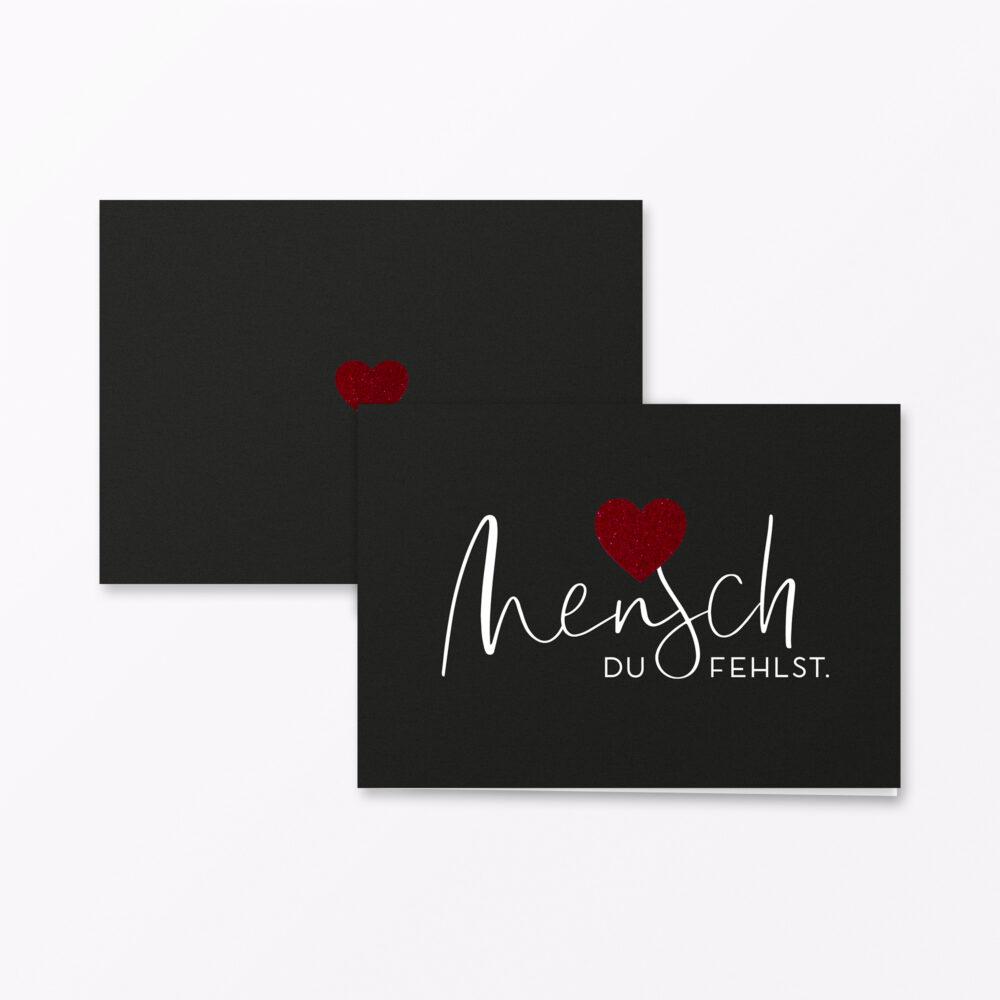 Trauerkarte Herzensmensch Rot