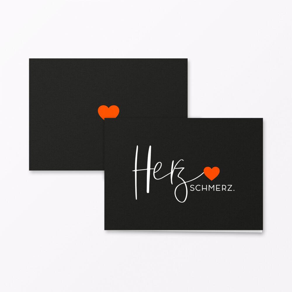 Trauerkarte Herzschmerz Orange