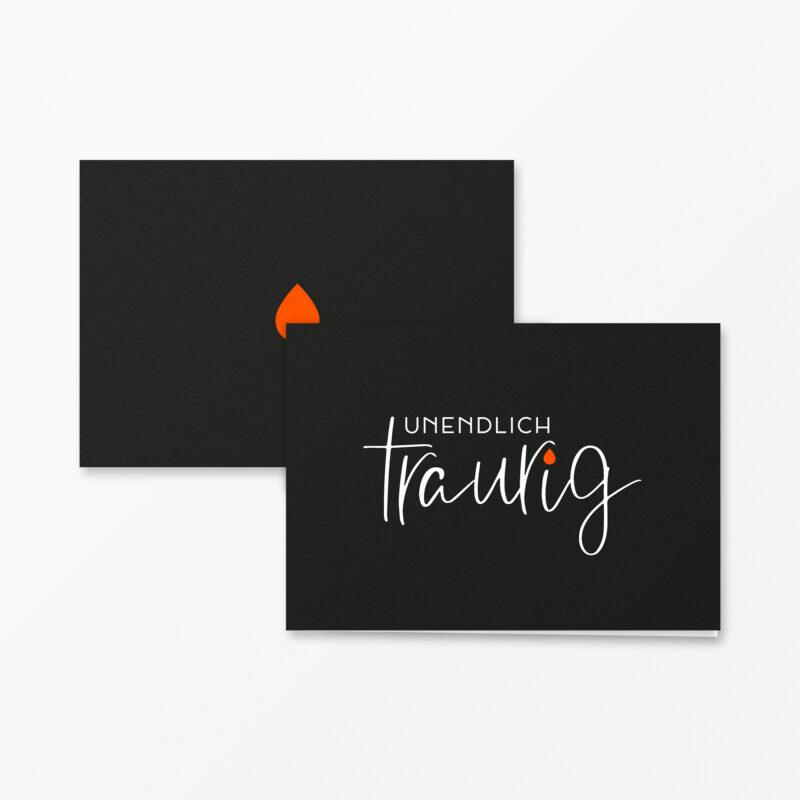 Trauerkarte Unendlich Traurig Orange