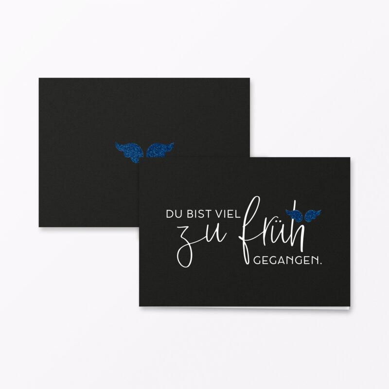 Trauerkarte Zu Frueh Blau
