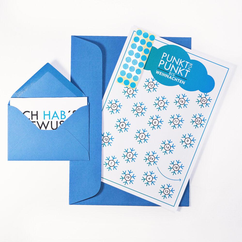 Adventskalenderkarte Quot Schneeflocken Quot Inkl Umschlag Minikarte Umschlag Und Klebepunkte